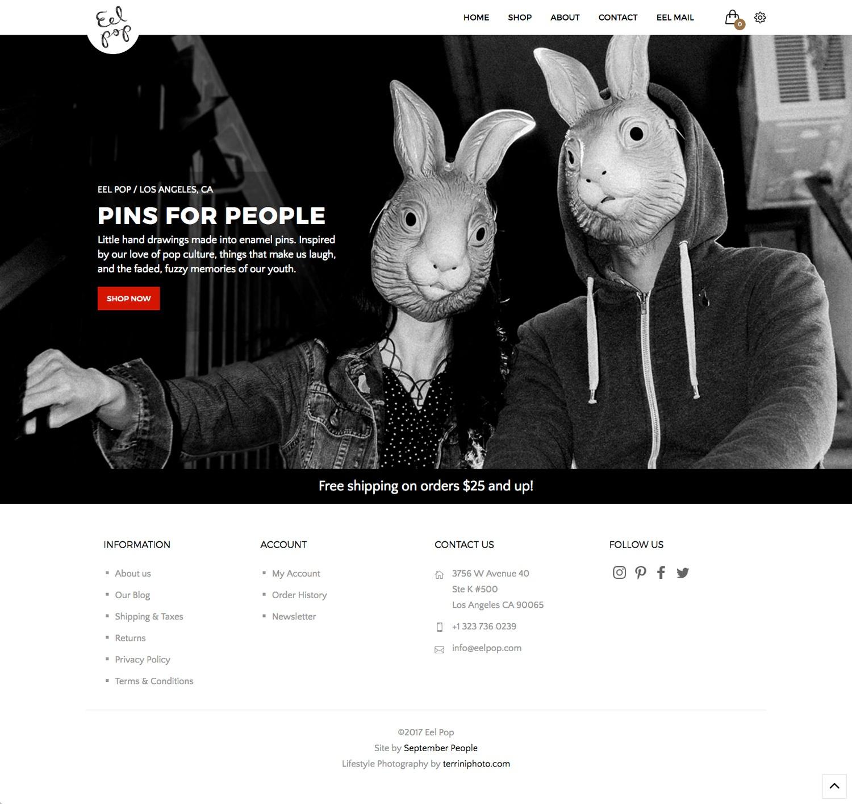 Eel Pop Open Cart e-commerce website design