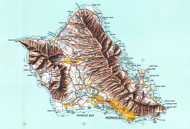 Topographic map of Oahu.